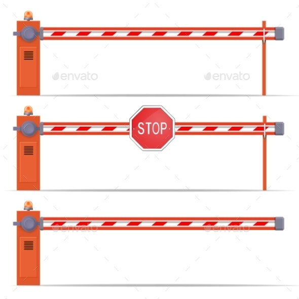 Parking Car Barrier Gate Set - Man-made Objects Objects