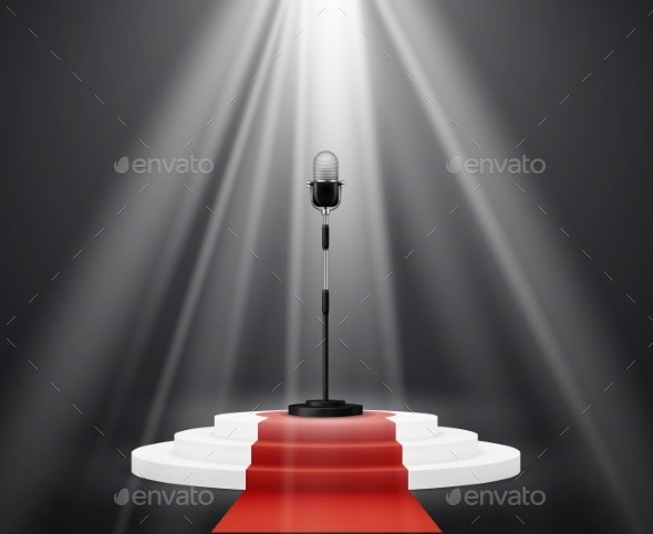 Entertainment Industry Microphone Stand on Stage - Industries Business