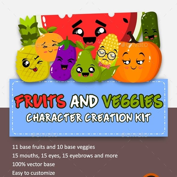 Fruits and Veggies Character Creation Kit
