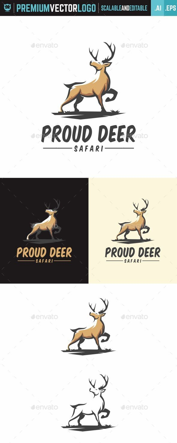 Deer Safari Logo - Animals Logo Templates