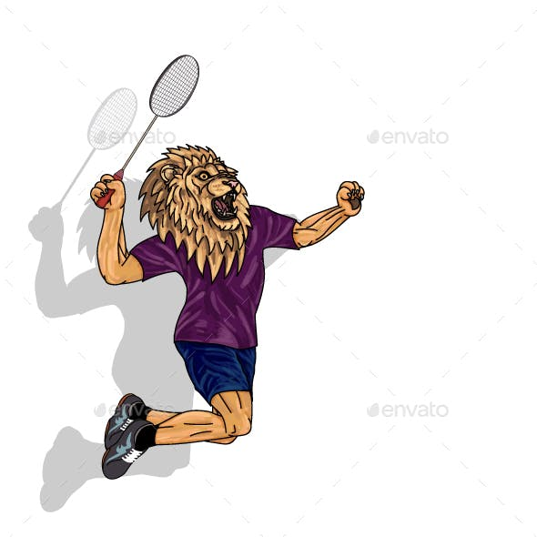 Badminton Player Lion