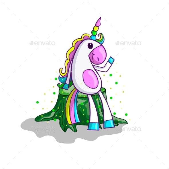 Unicorn on Stump in Cartoon Style - Animals Characters