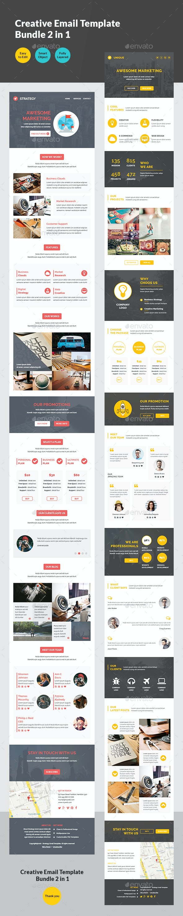 Creative Email Template Bundle 2 in 1 - E-newsletters Web Elements
