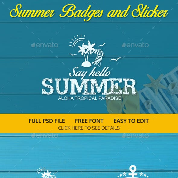 Summer Badges and Sticker