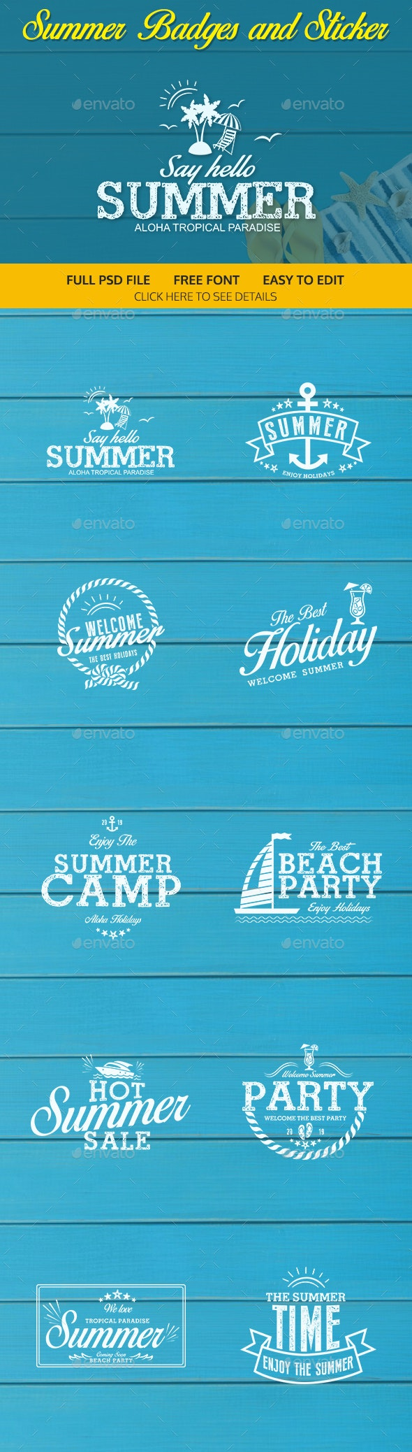 Summer Badges and Sticker - Badges & Stickers Web Elements