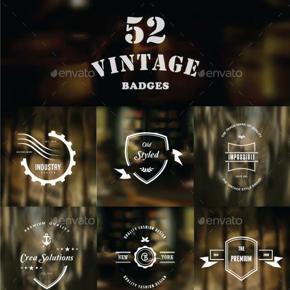 52 Retro Vintage Insignias & Logo-Badges-Bundle