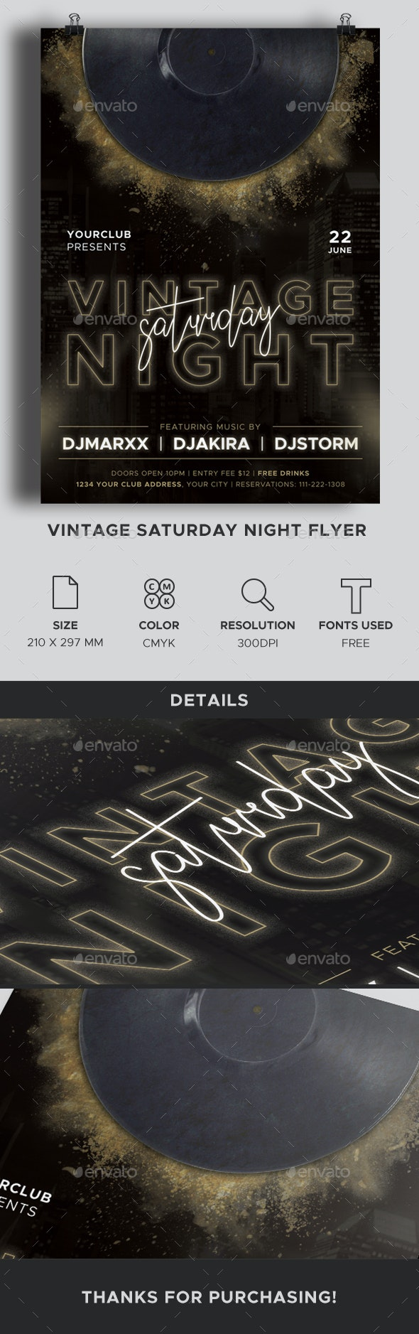 Vintage Saturday Night Flyer - Clubs & Parties Events