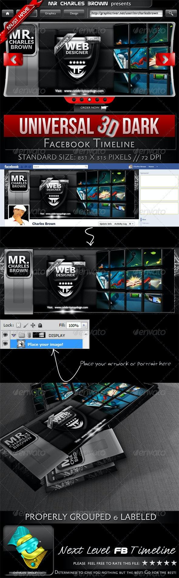 Universal 3D Dark Facebook Timeline - Facebook Timeline Covers Social Media