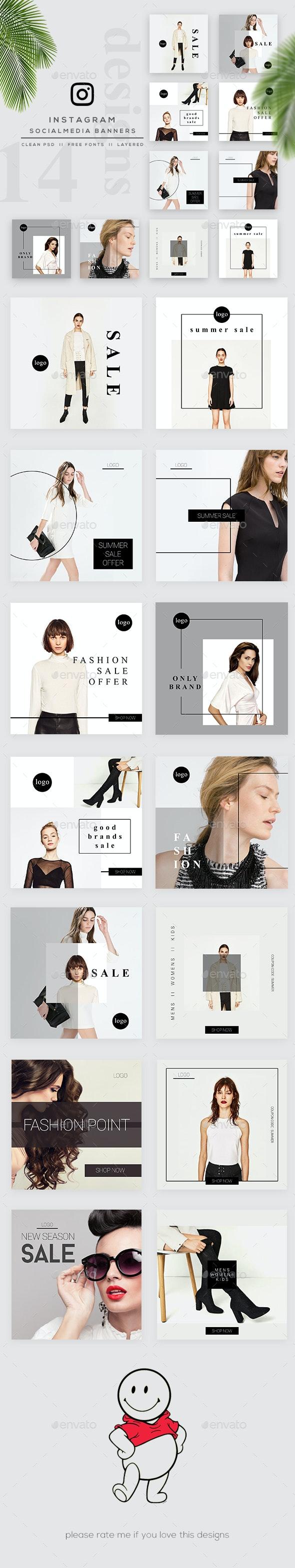 Fashion Instagram Banner Pack - Social Media Web Elements