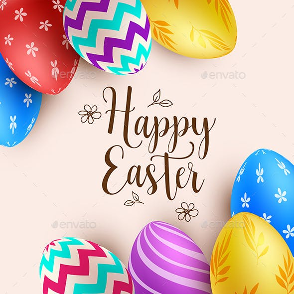 Background with Multicolored Easter Eggs