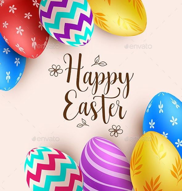 Background with Multicolored Easter Eggs - Miscellaneous Seasons/Holidays