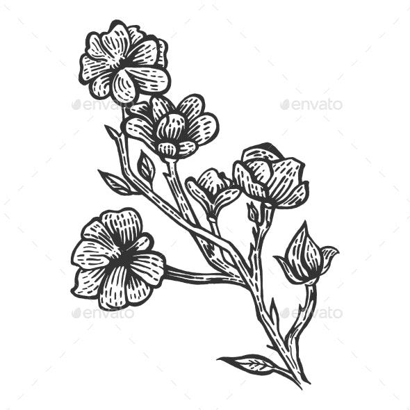 Magnolia Flower Sketch Engraving Illustration - Miscellaneous Vectors