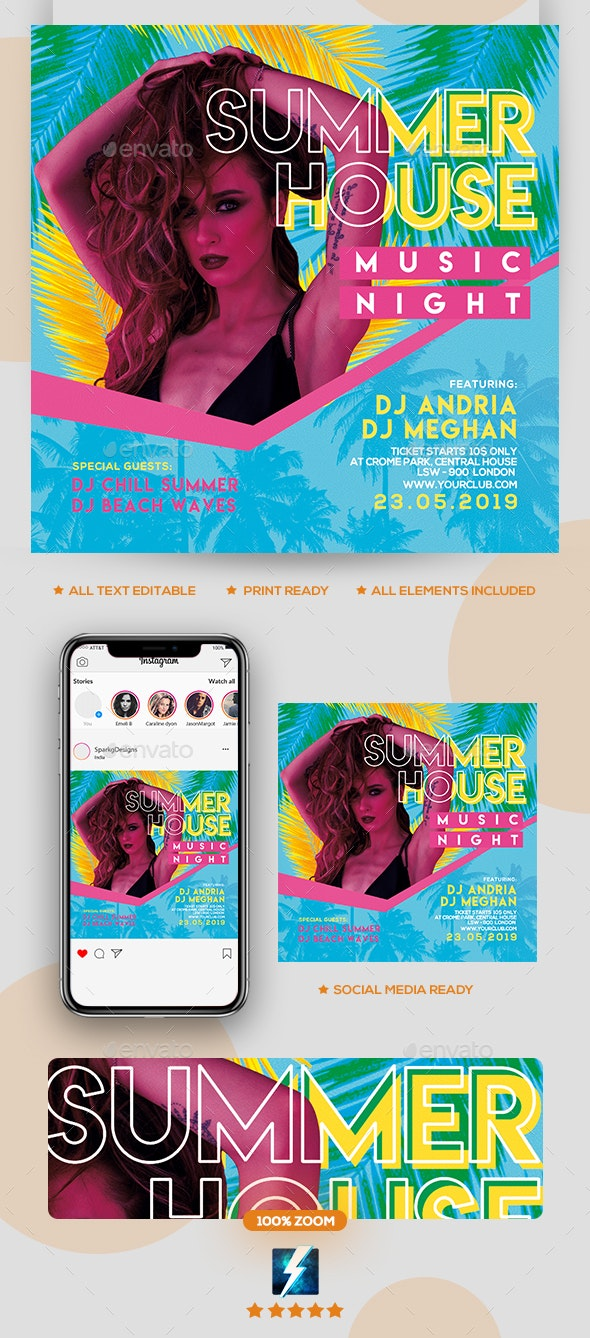 Summer House Party Flyer - Clubs & Parties Events