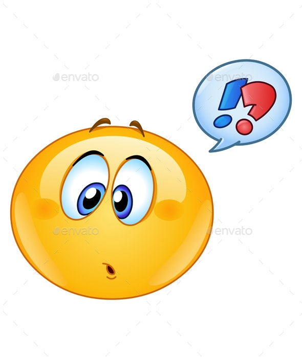 Confused Emoticon with Speech Bubble - People Characters