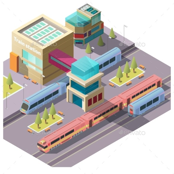 Train Station Building Isometric Vector - Buildings Objects