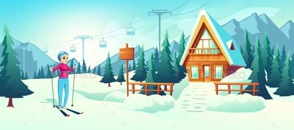 Skiing in Mountain Winter Resort Cartoon Vector - Sports/Activity Conceptual