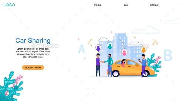 Car Sharing Landing Page - Industries Business