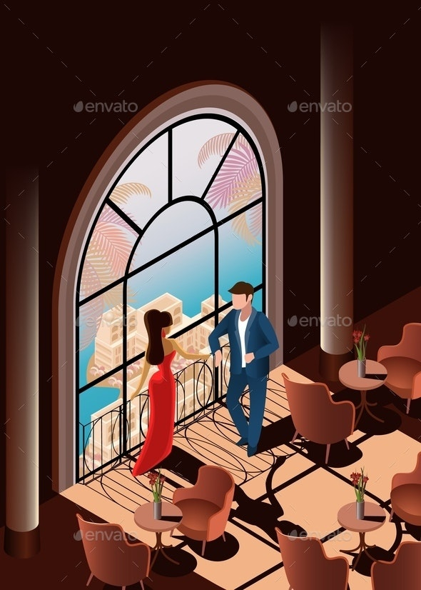 Woman and Man in Restaurant Near Window - People Characters
