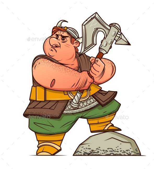 Fat Viking with an Ax in His Hands - Miscellaneous Vectors