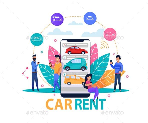 Car Rent App Concept - Industries Business