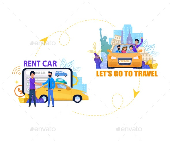 Rent Car for Travel Banner - Travel Conceptual