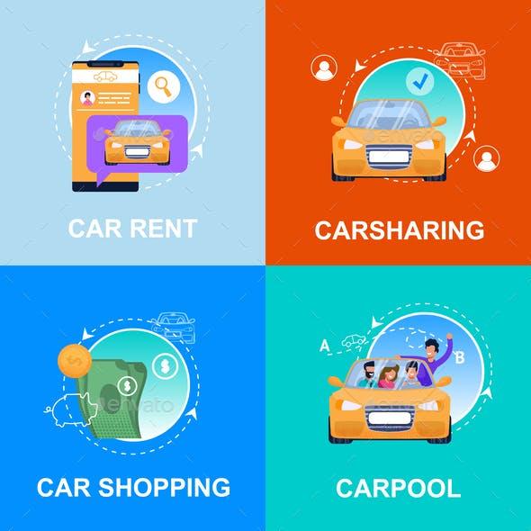 Car Shopping, Rent, Carpool, Carsharing Service