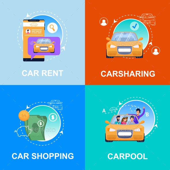 Car Shopping, Rent, Carpool, Carsharing Service - Miscellaneous Conceptual