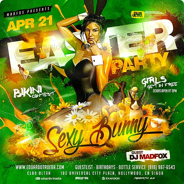Easter Sexy Bunny Party Flyer