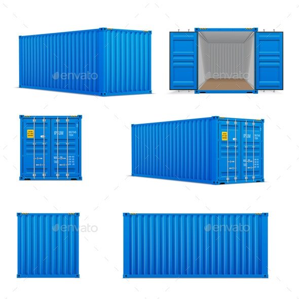 Realistic Set of Cargo Containers - Industries Business