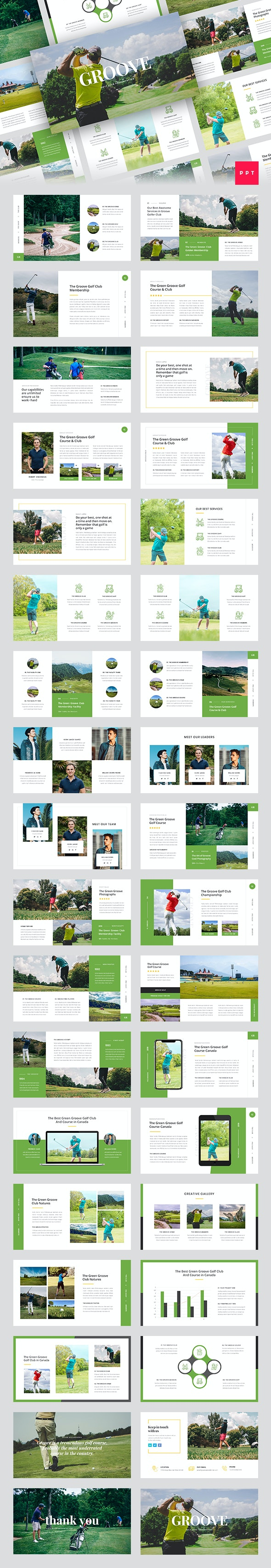 Groove - Golf Club PowerPoint Template - Business PowerPoint Templates