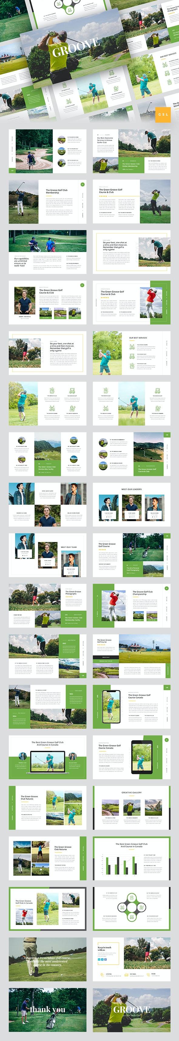 Groove - Golf Club Google Slides Template - Google Slides Presentation Templates