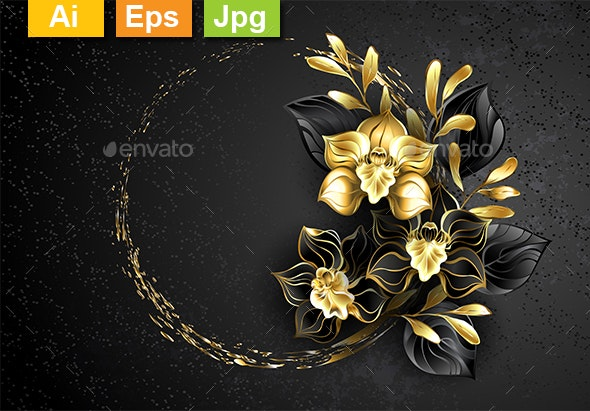 Black Jewelry Orchid with Gold Paint - Borders Decorative