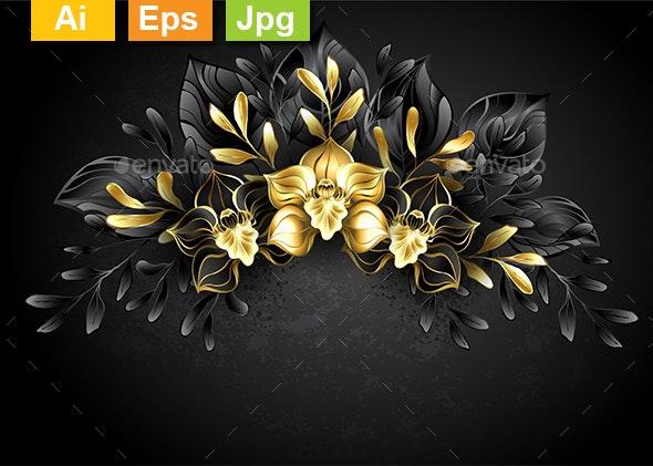 Wreath Black Orchids - Flourishes / Swirls Decorative