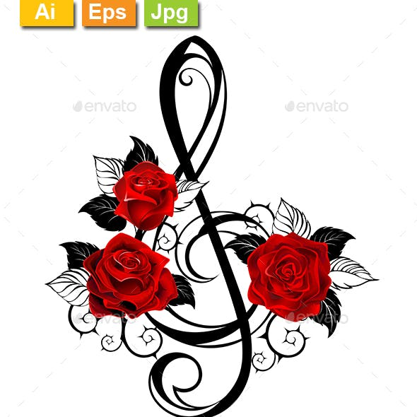 Black Musical Key with Red Roses