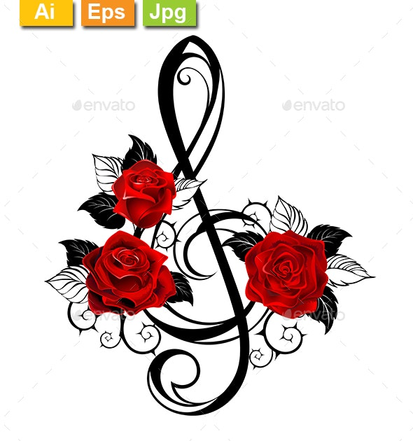 Black Musical Key with Red Roses - Tattoos Vectors