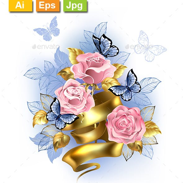 Pink Roses with Gold Ribbon