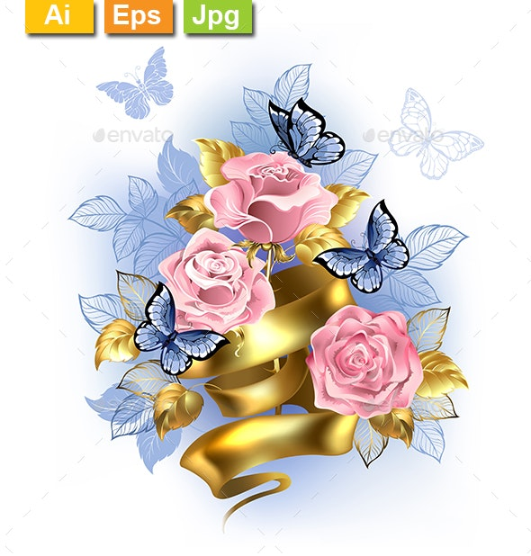 Pink Roses with Gold Ribbon - Flowers & Plants Nature