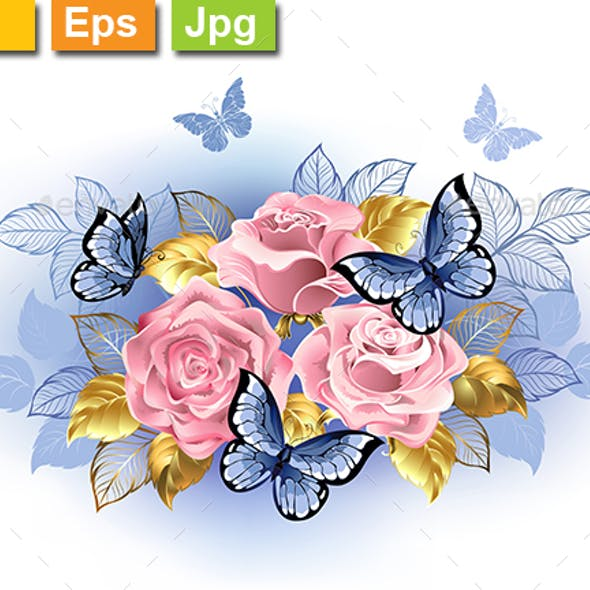 Three Pink Roses with Butterflies