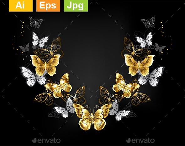 Symmetrical Pattern of Gold and White Butterflies - Flourishes / Swirls Decorative