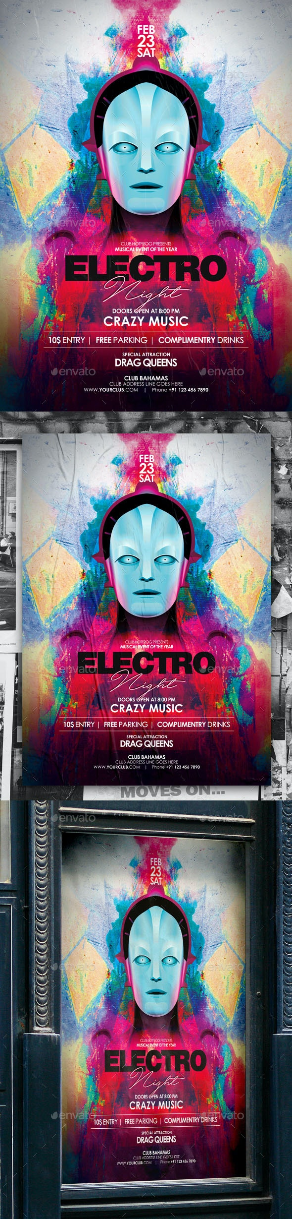 Electro Night Poster - Events Flyers