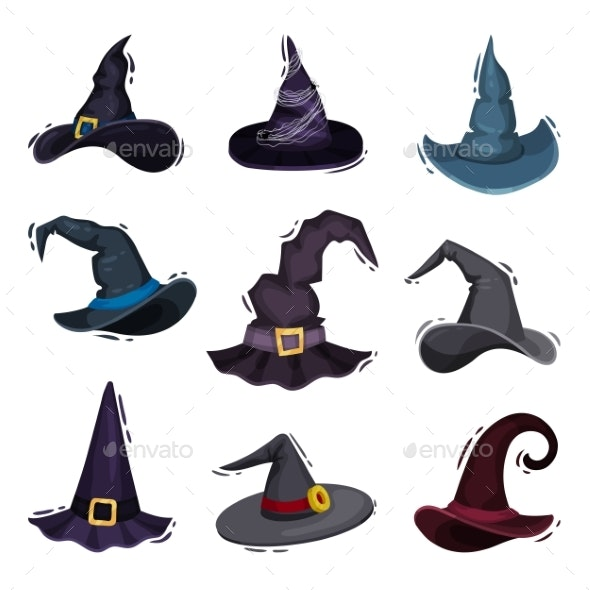 Collection of Witch Hats on White Background. - Seasons/Holidays Conceptual