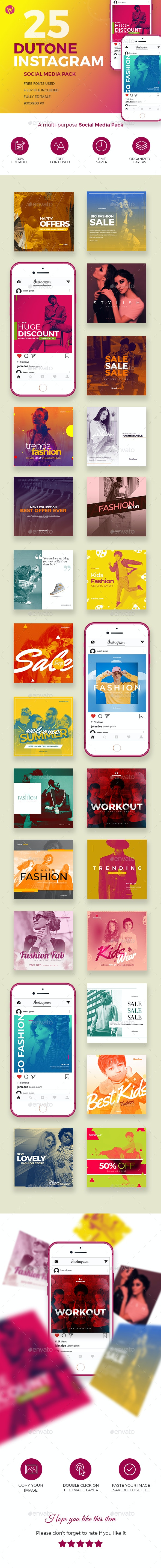 25 Dutone Instagram - Multi-Purpose Social Media Pack - Social Media Web Elements