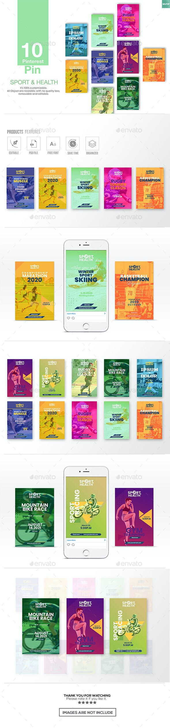 10 Pinterest Pin Banner - Sport and Health - Miscellaneous Social Media