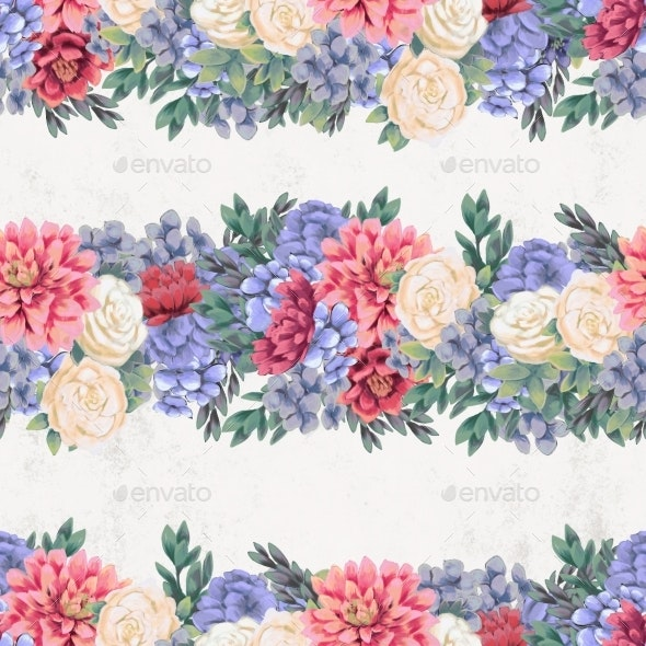 Watercolor Floral Seamless Pattern. Hand Painted - Patterns Decorative