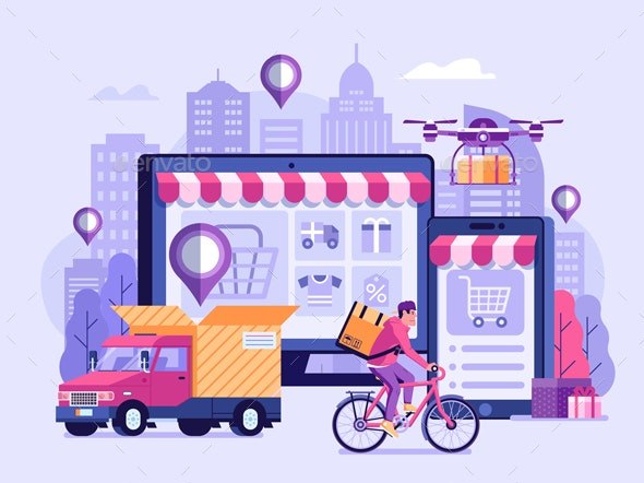 Online Delivery Service Illustration - Miscellaneous Vectors