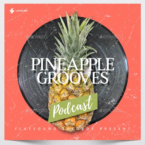 Pineapple Grooves - Audio Podcast Cover Design Template