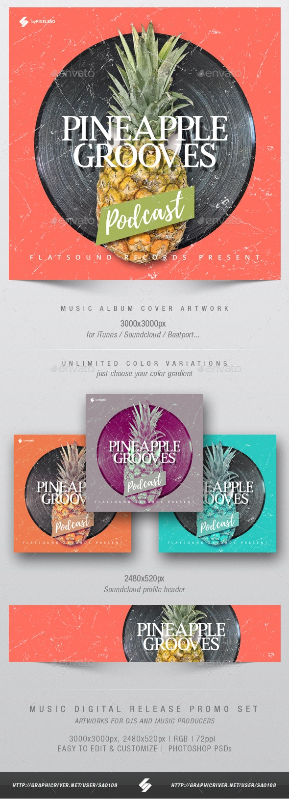 Pineapple Grooves - Audio Podcast Cover Design Template - Miscellaneous Social Media
