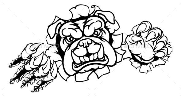 Bulldog Sports Mascot Tearing Through Background - Animals Characters