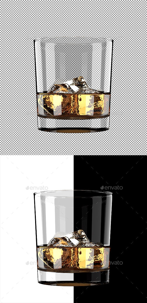 Glass of Whiskey With Ice - Objects 3D Renders
