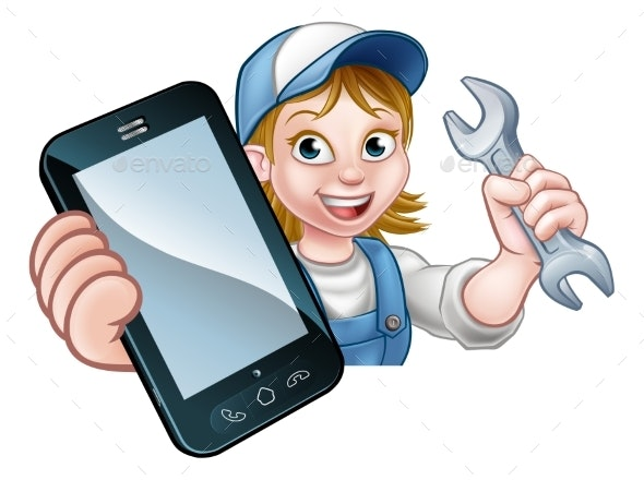 Mechanic Plumber Handyman Phone Concept - Services Commercial / Shopping